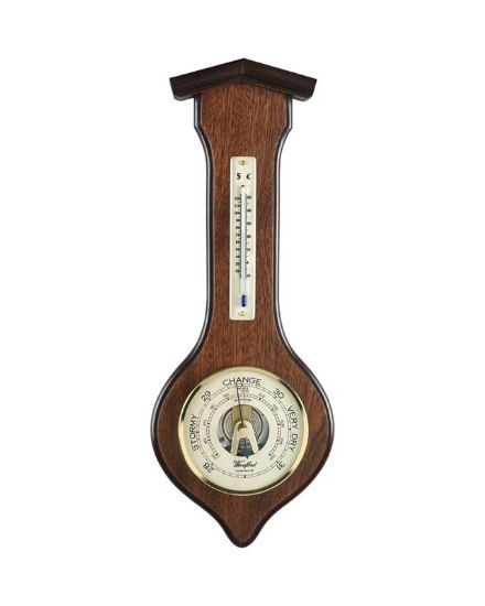 Arrow Shaped Veneered Barometer with Thermometer
